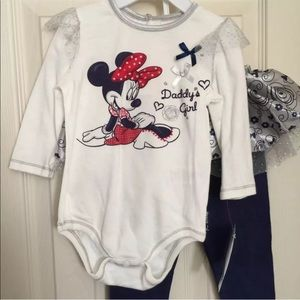 Disney Baby Minnie Mouse Pants Outfit 6/9 Months